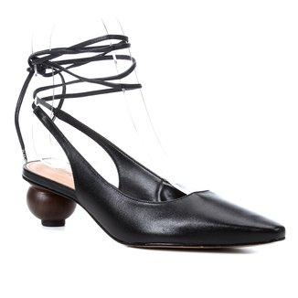 Scarpin Couro Shoestock Slingback Bico Fino Salto Baixo Redondo Feminino