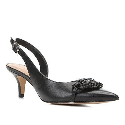 Scarpin Couro Shoestock Slingback Salto Baixo Macramê