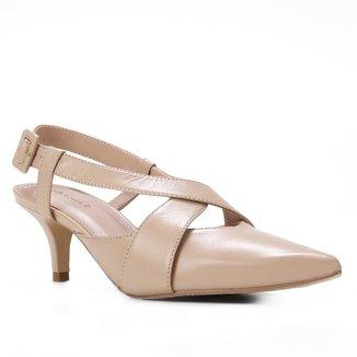 Scarpin Couro Shoestock Slingback Salto Baixo