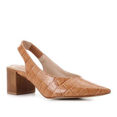 Scarpin Couro Shoestock Slingback Salto Médio Croco