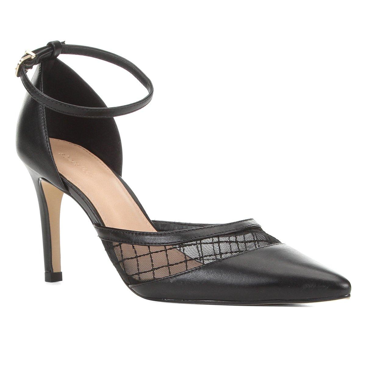 Scarpin Couro Shoestock Tela Bordada Feminina - Preto