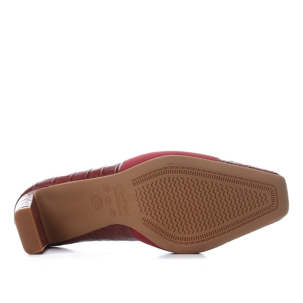 Scarpin Couro Usaflex Salto Alto Croco Elástico Joanete - Vermelho VQz4g