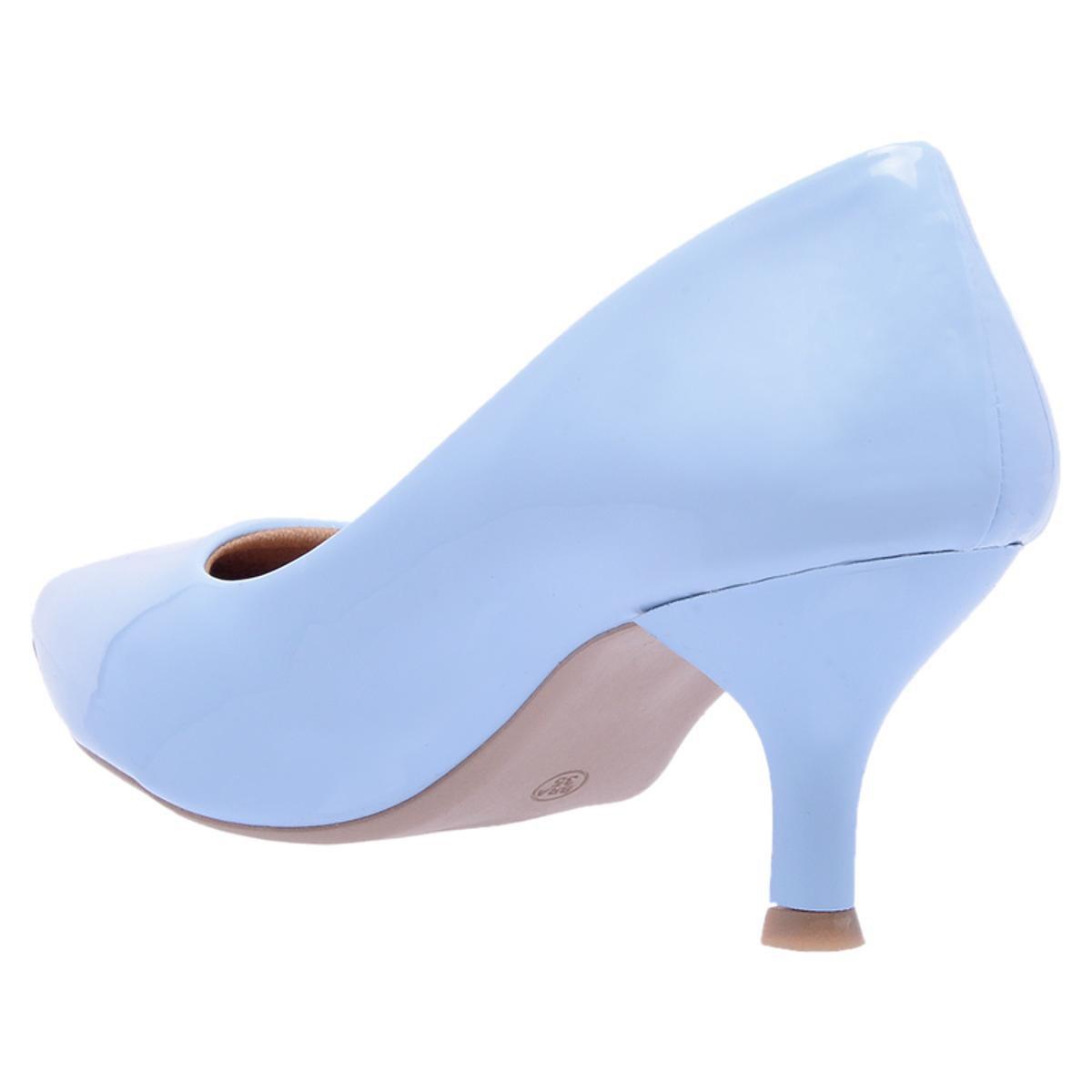 Baixo Scarpin Fino Salto Azul Verniz Bico Di Scarp Feminino qCCw4Bp