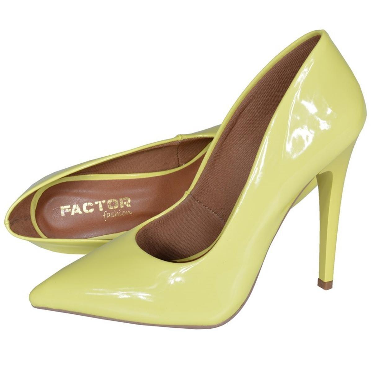 Scarpin Eagle Black Fashion Alto Feminino - Amarelo