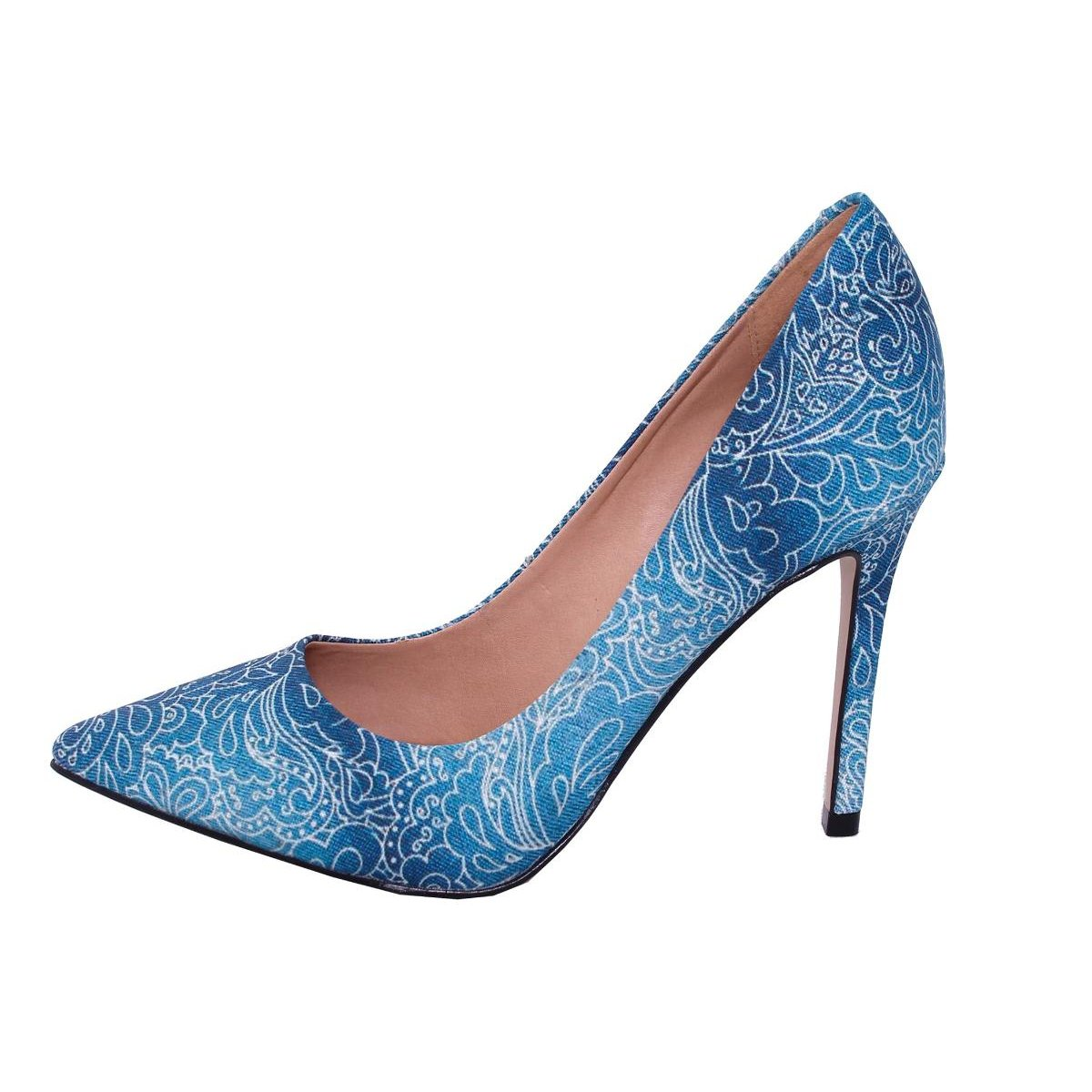 Salto Fashion Fashion Scarpin Alto Alto Conceito Conceito Estampas Azul Salto Scarpin Várias wXA8q6q