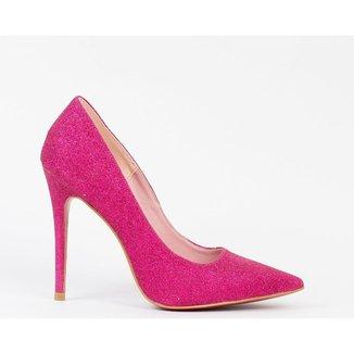 Scarpin Salto Fino 12cm Glitter Pink CBK