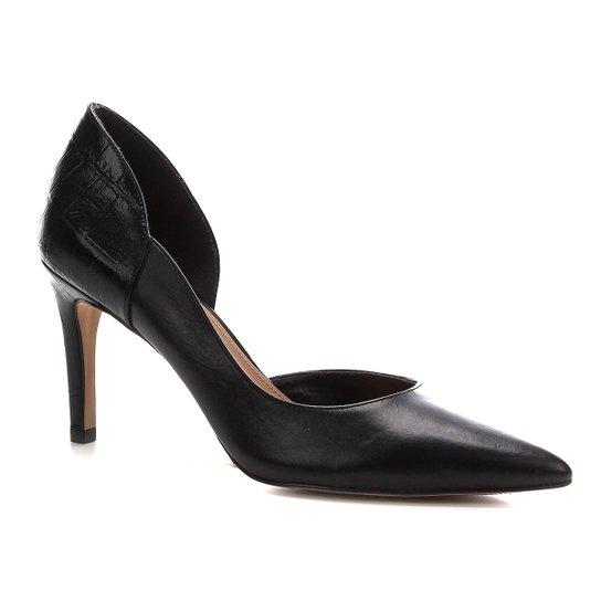 Scarpin Shoestock Couro Croco Salto Alto - Preto