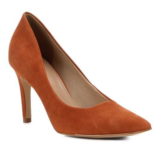 Scarpin Shoestock Couro Salto Alto - Caramelo