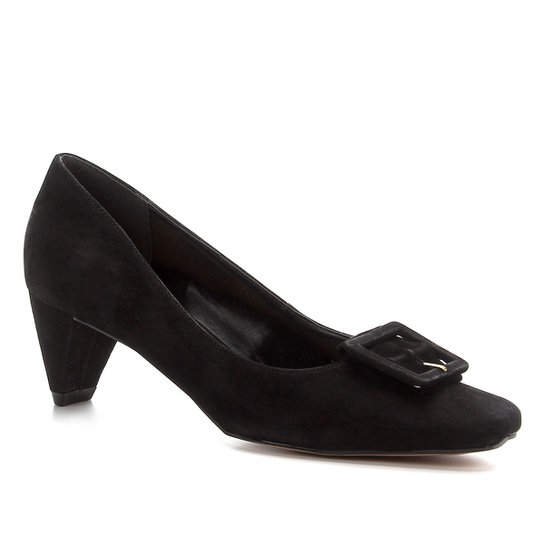 Scarpin Shoestock Nobuck Fivela Forrada - Preto