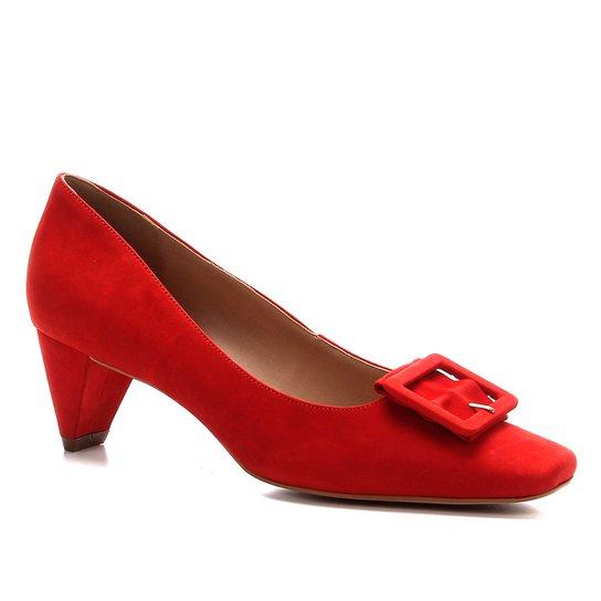 Scarpin Shoestock Nobuck Fivela Forrada - Vermelho