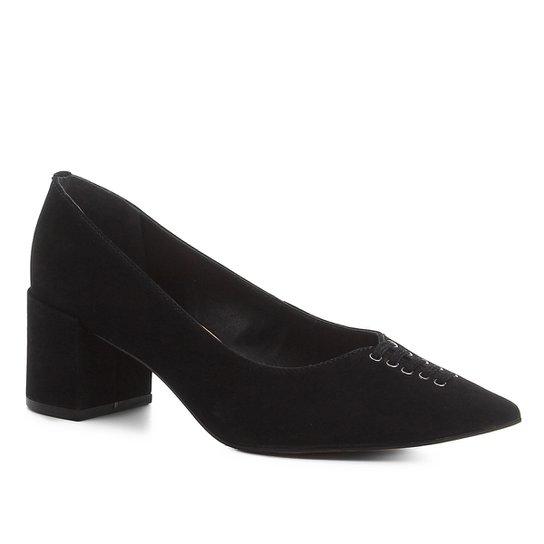 Scarpin Shoestock Nobuck Lace Salto Médio - Preto