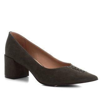 Scarpin Shoestock Nobuck Lace Salto Médio