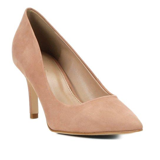 Scarpin Shoestock Nobuck Salto Médio Bico Fino - Nude