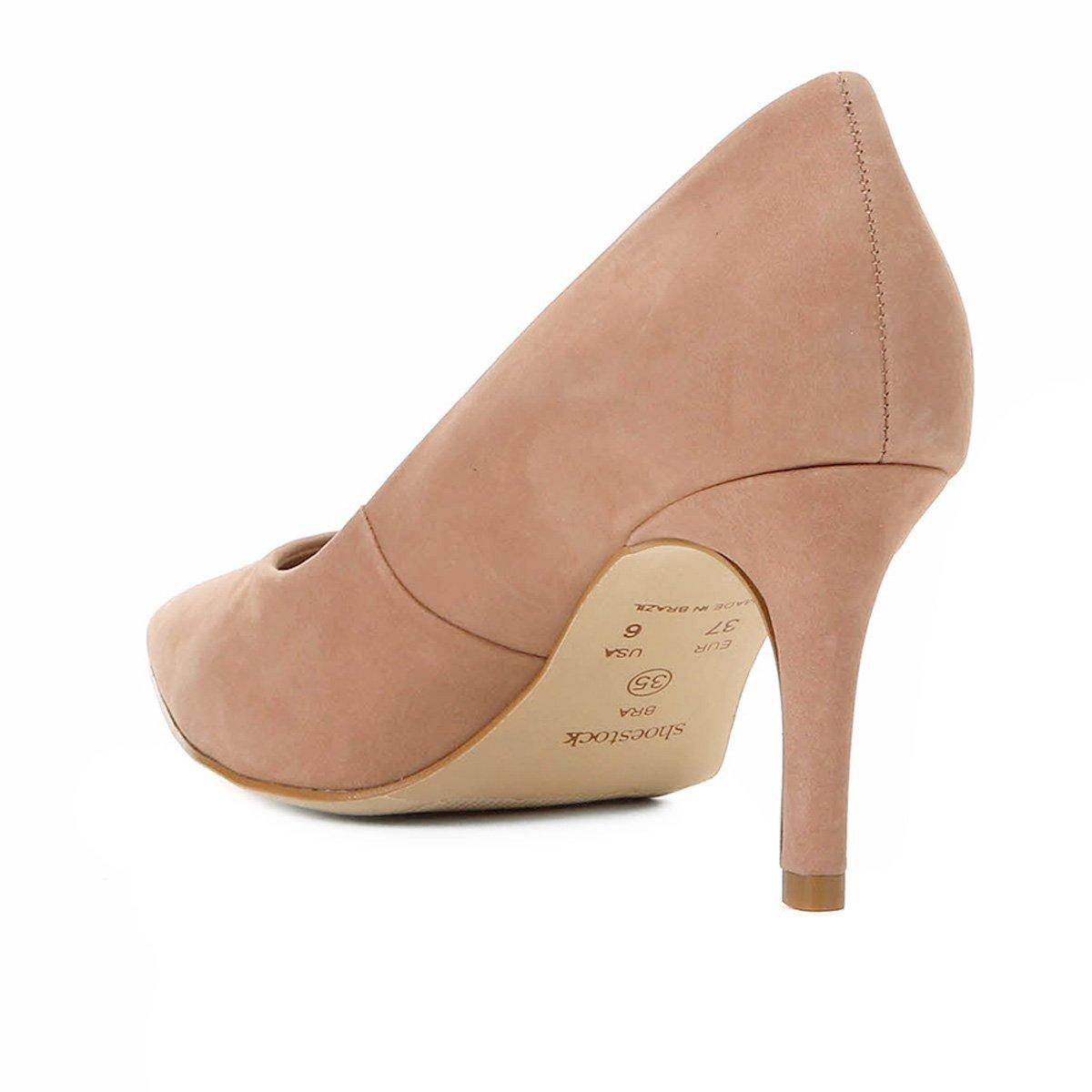Scarpin Shoestock Nobuck Salto Médio Bico Fino - Nude RmK65