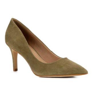 Scarpin Shoestock Nobuck Salto Médio Bico Fino