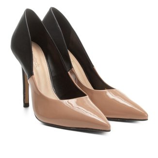 Scarpin Shoestock Salto Alto Bicolor