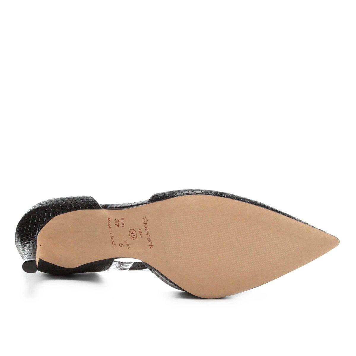 Scarpin Shoestock Salto Alto Snake - Preto
