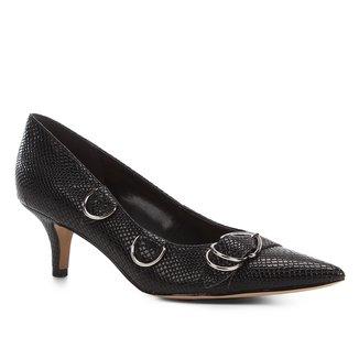 Scarpin Shoestock Salto Baixo Argolas Snake