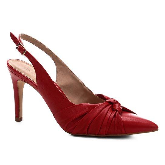 Scarpin Shoestock Salto Baixo Delicado Couro - Vermelho