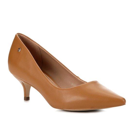 Scarpin Shoestock Salto Baixo Naked - Castanha