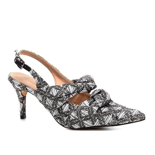 Scarpin Shoestock Salto Baixo Slingback Tecido - Branco+Preto