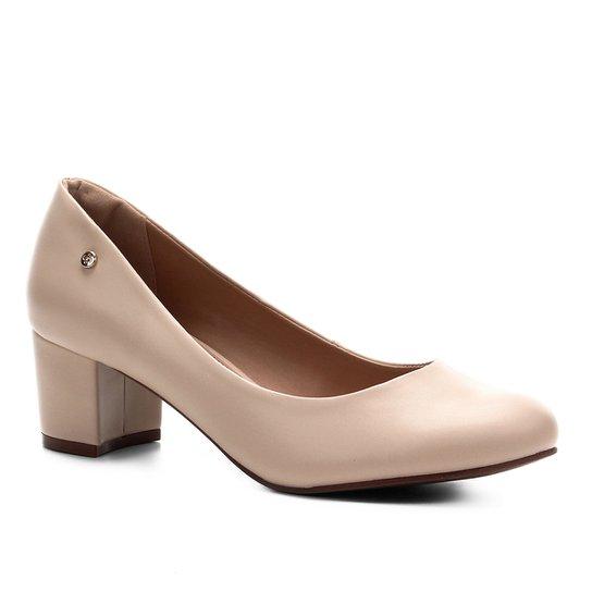 Scarpin Shoestock Salto Bloco - Macadamia