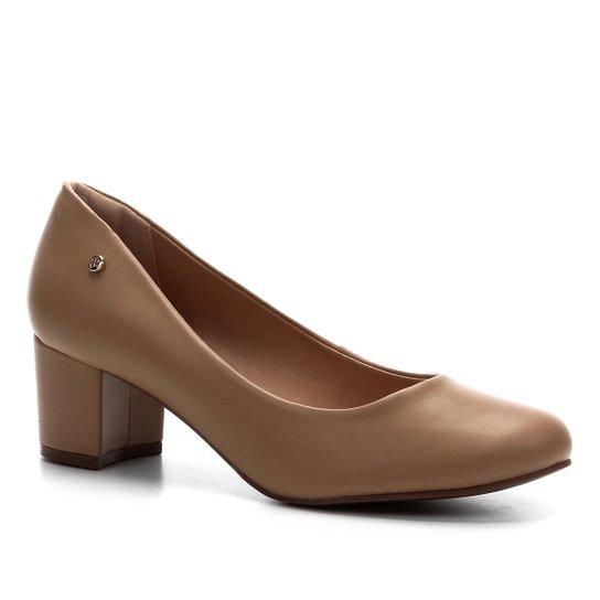 Scarpin Shoestock Salto Bloco - Amendoa