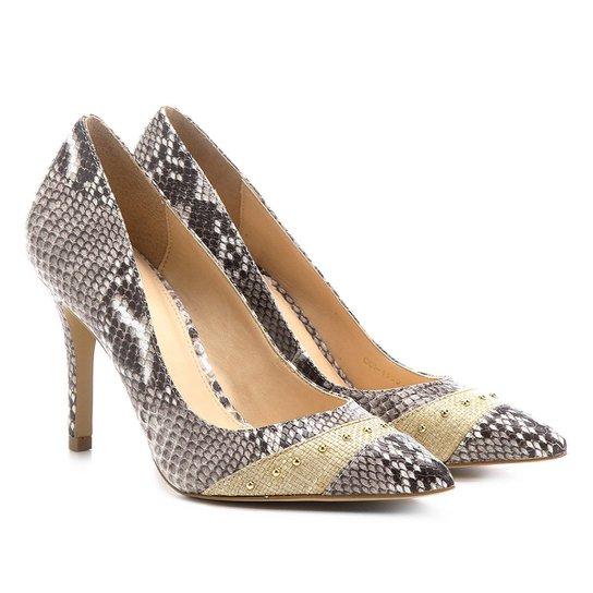 Scarpin Shoestock Salto Fino Cobra - Cinza
