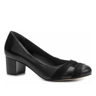 Scarpin Shoestock Salto Grosso Mix Couros