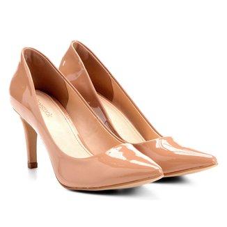 Scarpin Shoestock Salto Médio Bico Fino Verniz