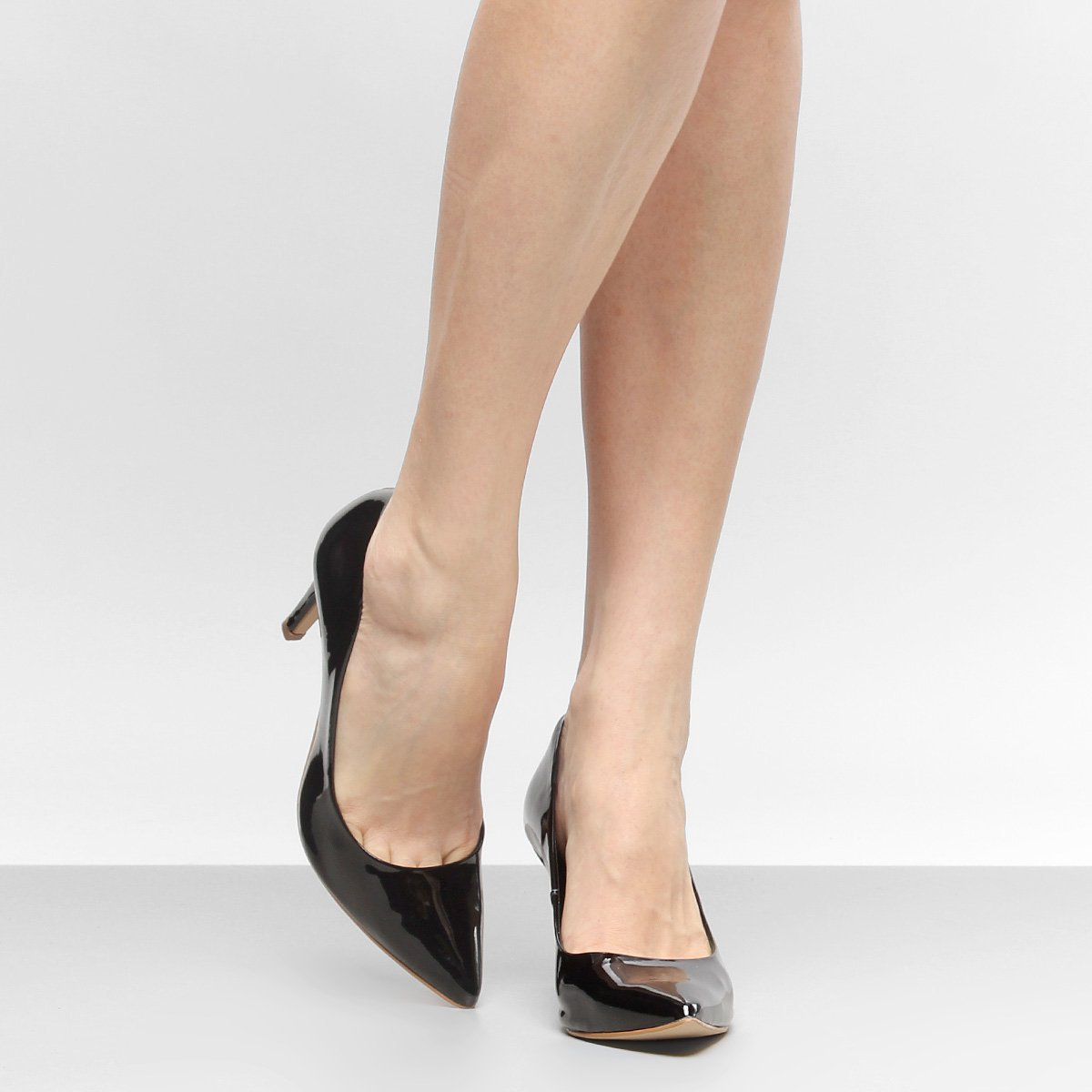 Preto Scarpin Shoestock Shoestock Salto Bico Médio Verniz Scarpin Fino RqdEa8