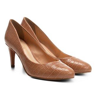 Scarpin Shoestock Salto Médio Croco