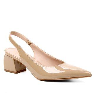 Scarpin Shoestock Slingback Verniz Salto Médio Naked
