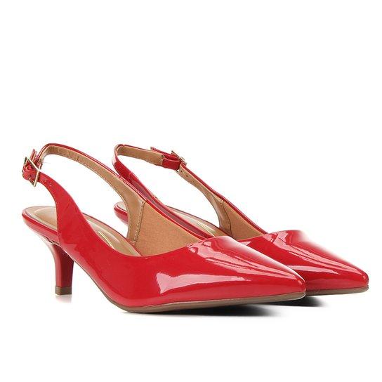 Scarpin Vizzano Salto Baixo Bico Fino Chanel - Vermelho