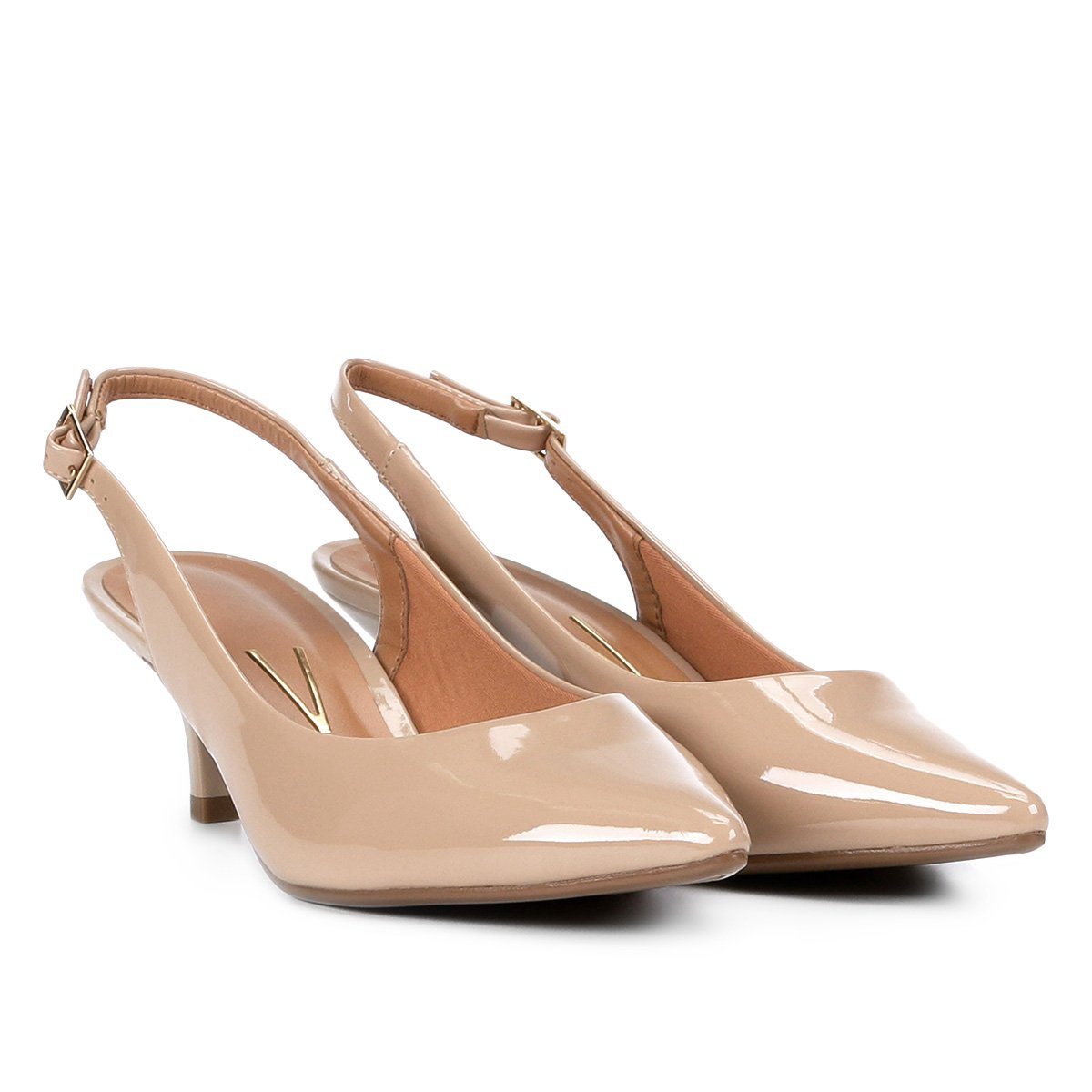 Sapato scarpin salto baixo nude verniz modare - R$ 99.99