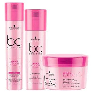 Schwarzkopf BC pH 4.5 Color Freeze it - Shampoo + Condicionador + Máscara Kit