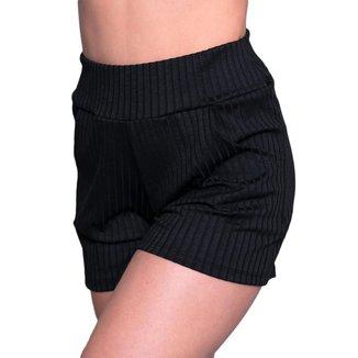 Short 4 Estações Cintura Alta Canelado Liso Com Bolso Curto Feminino