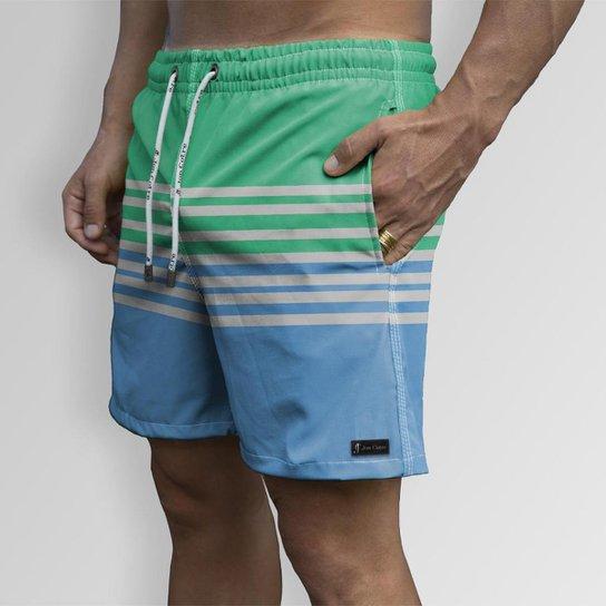 Short Bermuda Jon Cotre Formas Listrado  Masculino - Azul
