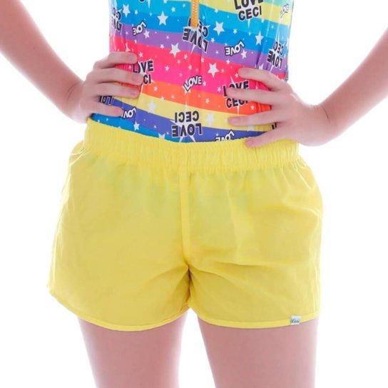 Short Cecí Moda Praia Feminino - Amarelo