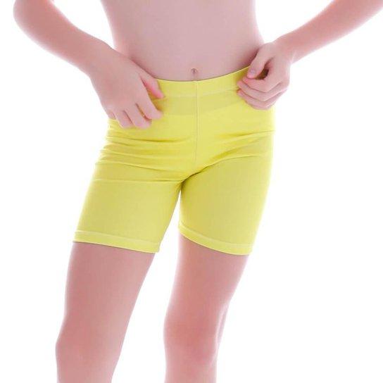 Short Cecí Moda Praia Infantil Feminino - Amarelo