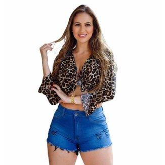 Short Cós Alto Jeans Feminino