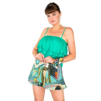 Short Estampado Tropical Cintura Alta Lenço Casual Feminino