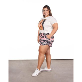 Short Feminina Plus Size Estampa Camuflada