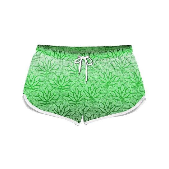 Short Feminino Gin Tropical Degrade Flores Praia - Verde