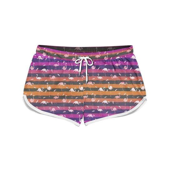 Short Feminino Gin Tropical  Flamingo Stripes Verão Praia - Rosa