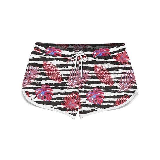 Short Feminino Gin Tropical Palm Leafs Stripes Moda Praia - Branco