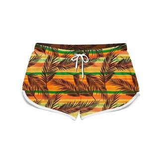 Short Feminino Gin Tropical Palms Leafs Moda Verão
