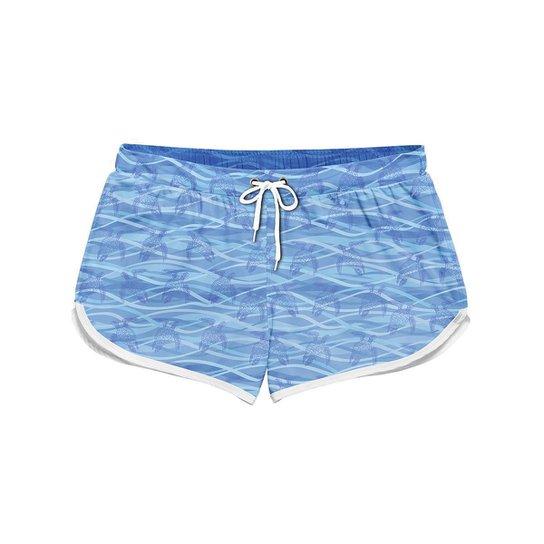 Short Feminino Gin Tropical Sea Turtle Moda Verão - Azul