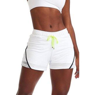 Short Fitness Neon Branco P CAJUBRASIL