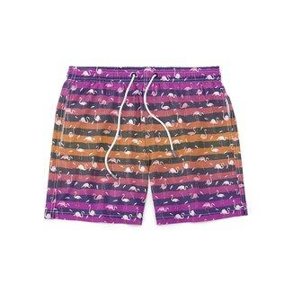 Short GIN TROPICAL Flamingos Masculino Moda Praia